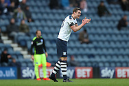 Preston North End defender Paul Huntington (23) gees his team mates up during the EFL Sky Bet Championship match between Preston North End and Brighton and Hove Albion at Deepdale, Preston, England on 14 January 2017.