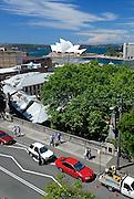 Elevated view of The Rocks area, looking toward the Sydney Opera House. The Rocks, Sydney, Australia