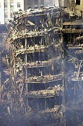 Sep 19, 2001; New York, NY, USA; The remains of a building near the site of the World Trade Center attack Wednesday September 19, 2001.   (Credit Image: © Edward A. Ornelas/San Antonio Express-News/ZUMAPRESS.com)