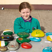 Muireann Corry from Knockanean school selling Ornamental Rock Art during their Fun Day for Jessies