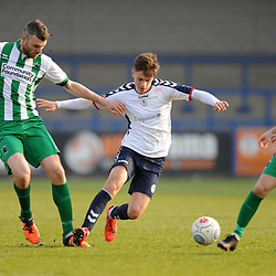 TELFORD COPYRIGHT MIKE SHERIDAN 30/3/2019 - Ryan Barnett of AFC Telford (on loan from Shrewsbury Town Football Club) takes on Robbie Dale during the Vanarama National League North fixture between AFC Telford United and Blyth Spartans at the New Bucks Head.