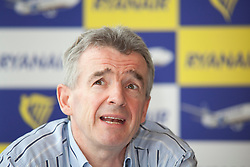 © Licensed to London News Pictures. 10/10/2011. LONDON, UK. Michael O'Leary, CEO of budget airline Ryanair, talks at a press conference about the launch of his company's new 'Cash Passport' debit card. The card, launched today (11/10/11) aims to allow Ryanair's regular customers to avoid its £6 admin fee when booking flights. Photo credit: Matt Cetti-Roberts/LNP