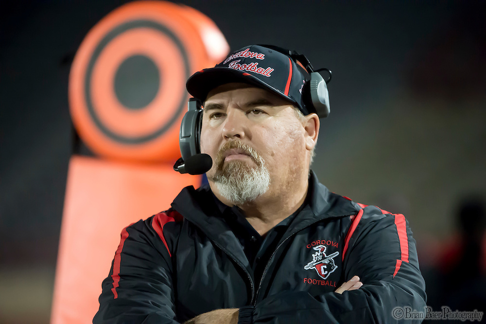 Cordova Lancers head coach Darren Nill, looks on during the second quarter of the Sac-Joaquin Section Division I football playoff game between the Christian Brothers Falcons and Cordova Lancers at Hughes Stadium,  Friday Nov 11, 2016.<br /> photo by Brian Baer