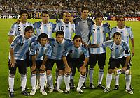 Fotball<br /> Foto: Piko Press/Digitalsport<br /> NORWAY ONLY<br /> <br /> ARGENTINA Vs BRASIL in the South American Soccer derby for the FIFA World Cup S.Africa 2010 Qualification round.<br /> <br /> Argentine starting team, <br /> Up. f. Left to Righ = SEBASTIAN DOMINGUEZ - NICOLAS OTTAMENDI - JUAN SEBASTIAN VERON - MARIANO ANDUJAR - JESUS DATOLO Y GABRIEL HEINZE<br /> Downt. f. L. to R. = LIONEL MESSI - CARLOS TEVEZ - MAXIMILIANO RODRIGUEZ - JAVIER ZANETTI - JAVIER MASCHERANO<br /> Lagbilde Argentina<br /> <br /> Rosario - Argentina Septiembre 05, 2009
