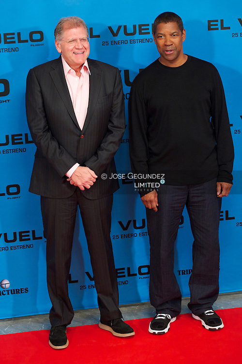 Director Robert Zemeckis and actor Denzel Washington attend the 'Flight' photocell at Villamagna Hotel on 22 January, 2013 in Madrid
