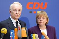 17 JAN 2002, BERLIN/GERMANY:<br /> Edmund Stoiber, CSU, Ministerpraesident Bayern und CDU/CSU Spitzenkandidat, und Angela Merkel, CDU Bundesvorsitzende, waehrend einem Pressestatement zu einer vorangegangenen Besprechung ueber die Organisation des Bundestagswahlkampfes, CDU Bundesgeschaeftsstelle<br /> IMAGE: 20020117-01-010<br /> KEYWORDS: Ministerpräsident, Mikrofon, microphone, Pressekonferenz