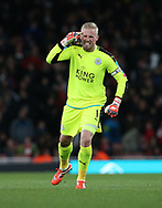 Leicester's Kasper Schmeichel looks on dejected during the Premier League match at the Emirates Stadium, London. Picture date: April 26th, 2017. Pic credit should read: David Klein/Sportimage