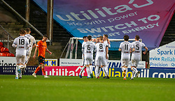 Alloa Athletic's Alan Trouten a=with players cele scoring their goal. half time : Dundee United 1 v 1 Alloa Athletic, Scottish Championship game played 7/12/2019 at Dundee United's stadium Tannadice Park.