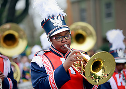 15 Feb 2015. New Orleans, Louisiana.<br /> Mardi Gras. A member of a marching band parades with The Krewe of Thoth.<br /> Photo; Charlie Varley/varleypix.com
