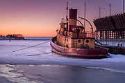 The Edna G. is a retired tugboat at Two Habors, Minnesota. It remains as a legacy of the days before iron ore freighters had bow thrusters that allow them to dock without the aid of a tug.