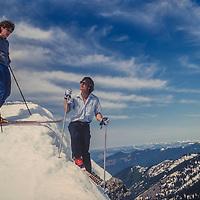 Skiers enjoy the slopes at Crystal Mountain ski area, Washington.