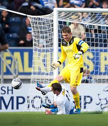 Falkirk's keeper Michael McGovern saves from Morton's David O'Brein.<br /> Falkirk 3 v 1 Morton, Scottish Championship 17/8/2013.<br /> ©Michael Schofield.