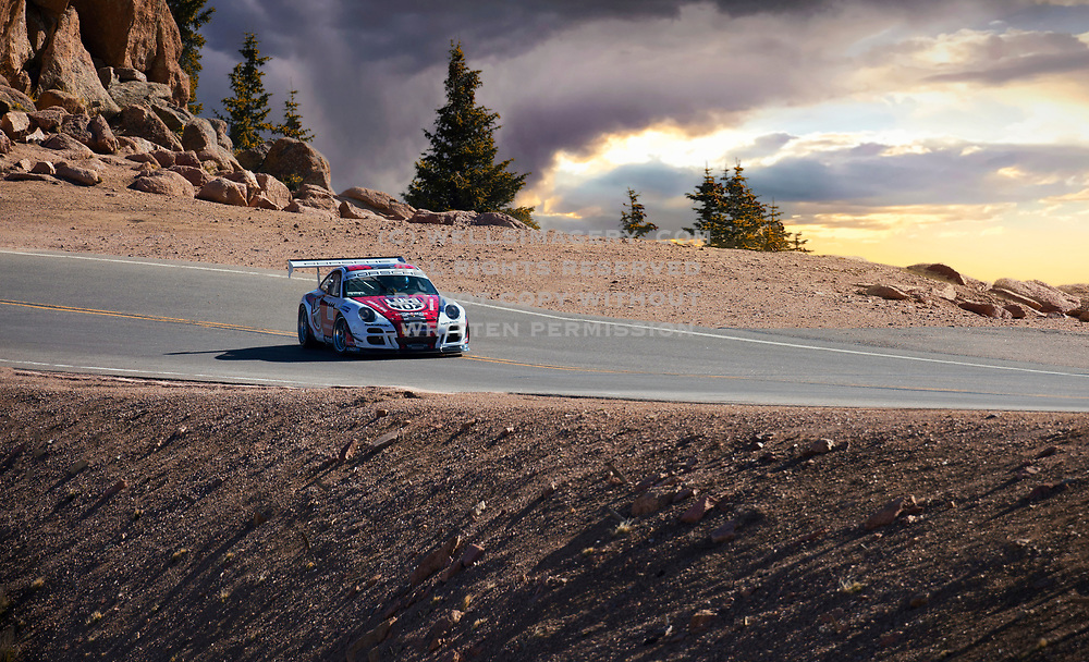 Image of the 2007 Porsche 911 GT3 Cup Turbo Hill Climb Special which Jeff Zwart drove in the 2014 Pikes Peak International Hill Climb in Colorado Springs, American Southwest by Randy Wells