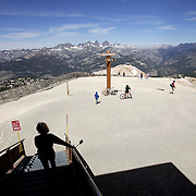 Enjoying the view from the summit of Mammoth Mountain in Mammoth Lakes, California.