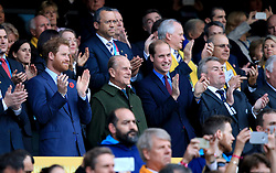 File photo dated 31/10/15 of (left to right) the Duke of Sussex, the Duke of Edinburgh and the Duke of Cambridge in the stands during the Rugby World Cup Final at Twickenham, London. Siblings are often known to have troubled relationships and the Duke of Cambridge and his brother the Duke of Sussex are no different. Issue date: Friday April 16, 2021.