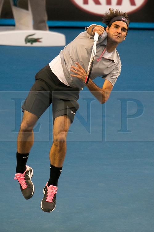 © Licensed to London News Pictures. 25/01/2013. Melbourne Park, Australia. Roger Federer during the Mens Semi Final between Andy Murray Vs Roger Federer of the Australian Open. Photo credit : Asanka Brendon Ratnayake/LNP