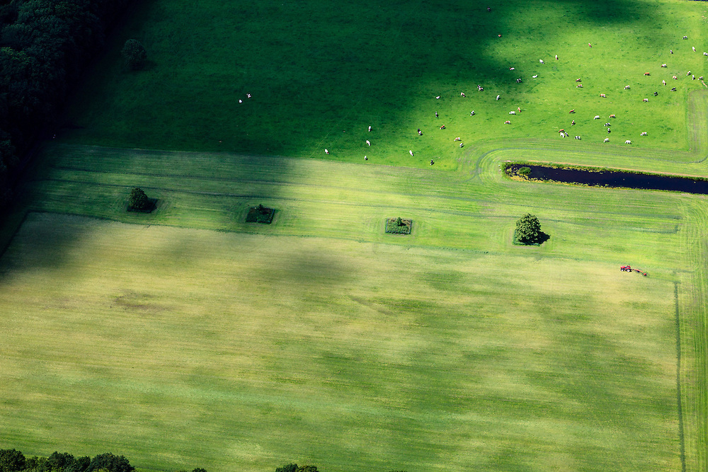 Nederland, Noord-Holland, 's-Graveland, 14-06-2012; maaien van gras, weiden van vee.Mowing the meadow, grazing cattle. luchtfoto (toeslag), aerial photo (additional fee required).foto/photo Siebe Swart