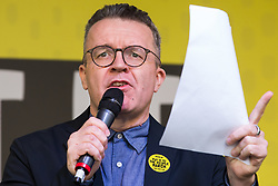 London, UK. 23rd March, 2019. Tom Watson MP, Deputy Leader of the Labour Party, addresses a million people taking part in a People's Vote rally in Parliament Square following a march from Park Lane.