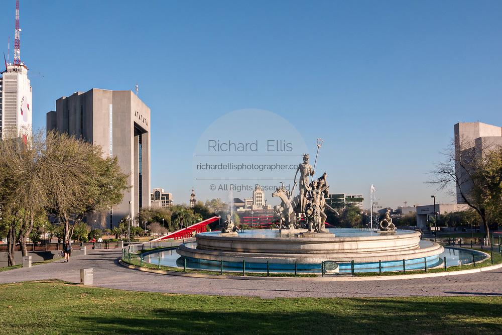 Fuente de Neptuno or Neptune Fountain in the Macroplaza square in the Barrio Antiguo neighborhood of Monterrey, Nuevo Leon, Mexico.