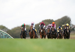 Franny Norton riding Pocket The Profit (centre, red cap) on their way to winning the Vickers Best Odds Guaranteed Nursery Handicap at Brighton racecourse. Picture date: Tuesday October 5, 2021.