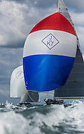 """Image licensed to Lloyd Images <br /> The Royal Yacht Squadron Bicentenary Regatta . Pictures of the 3 classic """"J Class"""" Yachts led by Valsheda JK7, Ranger and Lionheart shown here racing around the Isle of Wight as part of the 200th anniversary sailing week.<br /> Credit: Lloyd Images"""