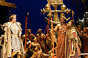 GASTON DE CARDENAS/EL NUEVO HERALD -- Florida Grand Opera production of Verdis Aida. Set in four acts, the opera finds Amneris, daughter of the Egyptian king, in love with Radames, leader of Egypt's armies. But when Radames falls in love with Aida, Amneris' Ethopian slave and daughter of the opposing king, the odds are staked against them. They are forced to courageously cling to their love, which ends tragically for them.