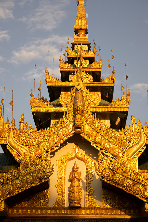 Golden pagoda at the Shwedagon Pagoda complex. situated on Singuttara Hill in the center of Yangon (Rangoon), It is the most sacred Buddhist stupa in Myanmar and one of the most important religious reliquary monuments in the world