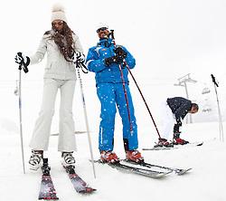29.04.2011, Ischgl, AUT, Skiurlaub Ruby in Ischgl, Idalpe, im Bild mit ihrem Verlobten Luca Risso (R) und ihrem Skilehrer Michael auf der Ischgler Idalp // Ruby Rubacuori with her Ski Instructor Michael during Skiing at Skiarea Idalp in Ischgl Austria on 29/4/2011. EXPA Pictures © 2011, PhotoCredit: EXPA/ J. Groder