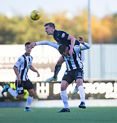 Falkirk's Paul Watson over St Mirren's Steven Thompson. <br /> Half time ; Falkirk 2 0 v St Mirren. Scottish Championship game played 21/10/2015 at The Falkirk Stadium.