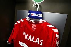 The Bristol City Captain's Armband hangs with the shirt of Tomas Kalas - Rogan/JMP - 11/09/2020 - Ashton Gate Stadium - Bristol, England - Bristol City v Coventry City - Sky Bet Championship.