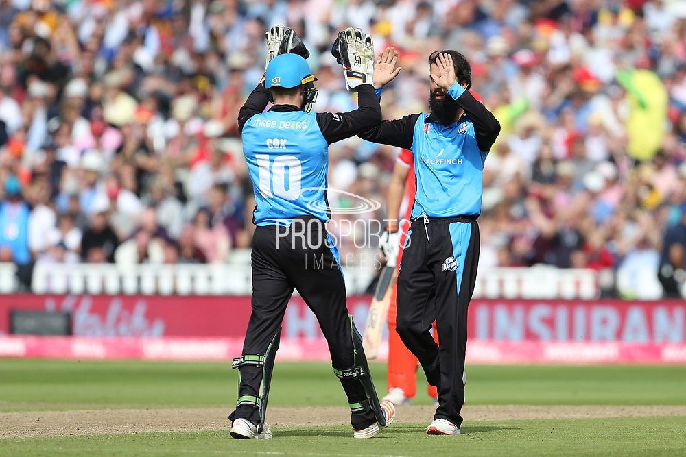 Worcestershire Rapids Moeen Ali celebrates his wicket during the Vitality T20 Finals Day semi final 2018 match between Worcestershire Rapids and Lancashire Lightning at Edgbaston, Birmingham, United Kingdom on 15 September 2018.