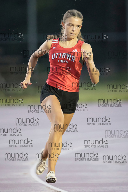 (Ottawa, Canada --- 25 July 2020) Kathryn Manor in the 200m at the first 2020 Ottawa Summer Twilight track and field meet held under COVID-19 rules at the Terry Fox Athletic Facility. Photo 2020 Copyright Sean Burges / Mundo Sport Images.
