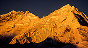 Upper Kangshung face, Chomolungma, Mt Everest. South Col in centre with Lhotse to left, from peak above Kharta glacier, Tibet