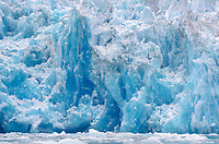 Blue volitale ice on the face of South Sawyer Glacier in Tracy Arm - Ford Terror Wilderness, Alaska.