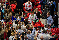 © Licensed to London News Pictures. 23/08/2016. London, UK. Members of the Great Britain Olympic team are greeted by family and members of the public as they arrive at terminal 5 of London Heathrow Airport on British Airways flight BA2016, decorated with a gold nose. Team GB finished second in the medals table with 67 medals, beating their total of 65 at London 202.  Photo credit: Ben Cawthra/LNP