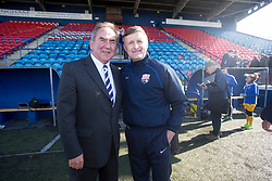 Montrose Chairman Derek Sim and manager Paul Hegarty at the end. <br /> Montrose 3 v 1 Brora Rangers, Scottish League Two play-off second leg, today at Links Park, Montrose.