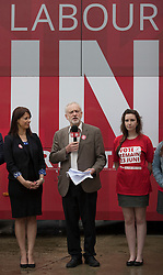 © Licensed to London News Pictures. 10/05/2016. London, UK. Labour party leader Jeremy Corbyn stands with Gloria De Piero, Shadow Minister for Young People, as they launch the 'Labour In for Britain' campaign and a new EU referendum campaign bus. Photo credit: Peter Macdiarmid/LNP