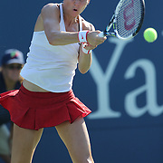 Lucie Safarova, Czech Republic, in action during her victory over Daria Gavrilova, Russia, in the first round of the Connecticut Open at the Connecticut Tennis Center at Yale, New Haven, Connecticut, USA. 24th August 2015. Photo Tim Clayton