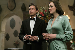 RELEASE DATE: November 23, 2016.TITLE: Allied.STUDIO: Paramount Pictures.DIRECTOR: Robert Zemeckis.PLOT: 1942. Max (Brad Pitt), a British intelligence officer, marries French agent Marianne (Marion Cotillard) after a dangerous mission in Casablanca. Max is notified that Marianne is likely a Nazi spy and begins to investigate her.STARRING: Brad Pitt as Max Vatan, Marion Cotillard as Marianne Beausejour..(Credit: