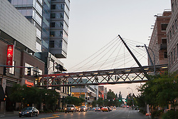 United States, Washington, Bellevue, pedestrian skybridge to LIncoln Square shopping area