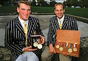 Henley, England, Steve REDGRAVE and Matthew PINSENT at the River and Rowing Museum, with his medals and trophies 1998. [Mandatory Credit: Peter Spurrier/ Intersport Images]