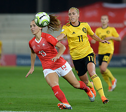 October 9, 2018 - Biel, SWITZERLAND - Switzerland's midfielder Lia Walti and Belgium's Janice Cayman pictured in action during a soccer game between Switzerland and Belgium's national team the Red Flames, Tuesday 09 October 2018, in Biel, Switzerland, the return leg of the play-offs qualification games for the women's 2019 World Cup. BELGA PHOTO DAVID CATRY (Credit Image: © David Catry/Belga via ZUMA Press)