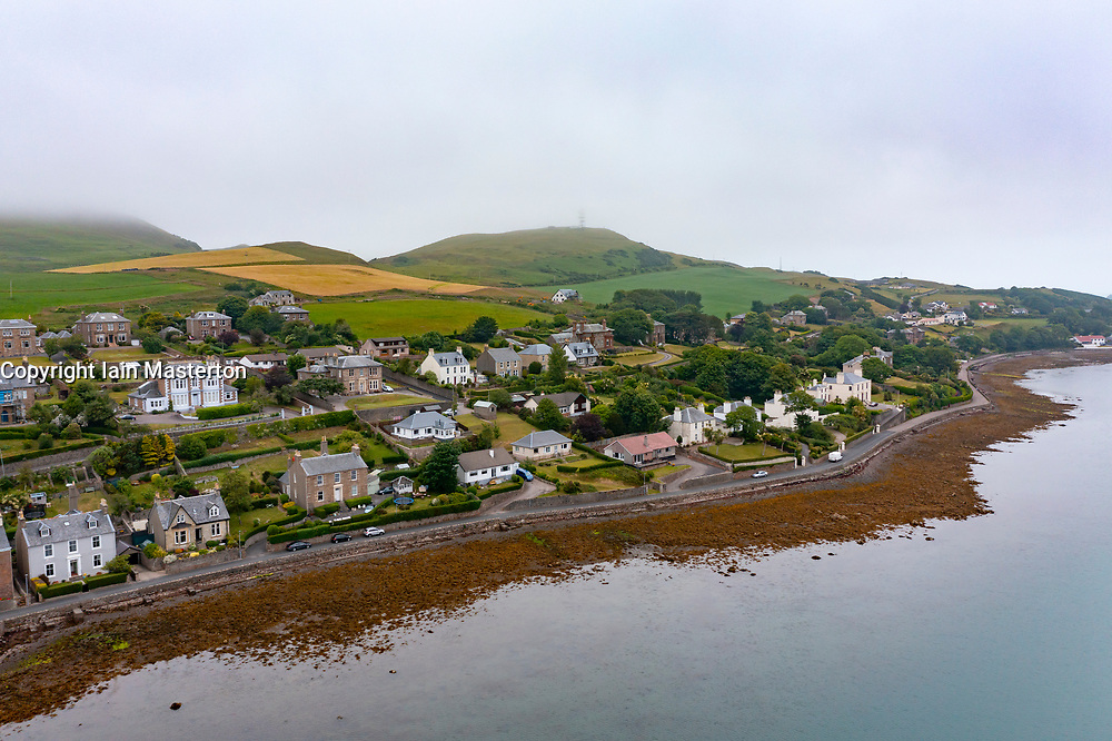 Aerial view from drone of large waterfront houses in Campbeltown on Kintyre peninsula , Argyll & Bute, Scotland UK