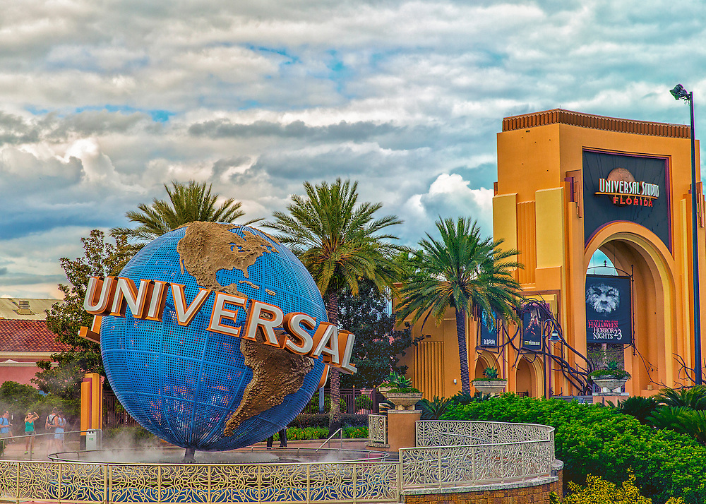 A very dramatic take on the Universal Studio sign in Orlando. Florida during Halloween of 2013.