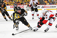 PITTSBURGH, PA - MAY 15:  Sidney Crosby #87 of the Pittsburgh Penguins and Chris Wideman #6 of the Ottawa Senators battle for the puck in Game Two of the Eastern Conference Final during the 2017 NHL Stanley Cup Playoffs at PPG Paints Arena on May 15, 2017 in Pittsburgh, Pennsylvania.  (Photo by Joe Sargent/NHLI via Getty Images) *** Local Caption ***