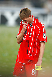 Athens, Greece - Wednesday, May 23, 2007: Liverpool's Steven Gerrard looks dejected after losing 2-1 to AC Milan during the UEFA Champions League Final at the OACA Spyro Louis Olympic Stadium. (Pic by David Rawcliffe/Propaganda)