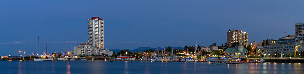Panorama of the shoreline, hotels, marinas and Nanaimo Harbour Water Airport in Nanaimo, British Columbia, Canada