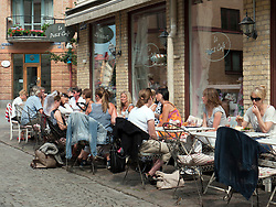 Busy cafe  on historic Haga Nygata street in Haga district of Gothenburg Sweden