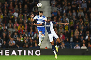 QPR defender Yoann Barbet (6)heads the ball   under pressure from West Bromwich Albion defender Darnell Furlong (2) during the EFL Sky Bet Championship match between West Bromwich Albion and Queens Park Rangers at The Hawthorns, West Bromwich, England on 24 September 2021.