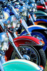 The Line Up. Sturgis, SD. 1993<br /> <br /> Limited Edition Print from an edition of 50. Photo ©1993 Michael Lichter.<br /> <br /> The Story: I've always loved the compressed look that a long lens gives to a line of bikes. Their wonderful paint and convoluted chrome reflections reflecting each other.  The bikes are like raw materials waiting to be abstracted into color, shape and form.